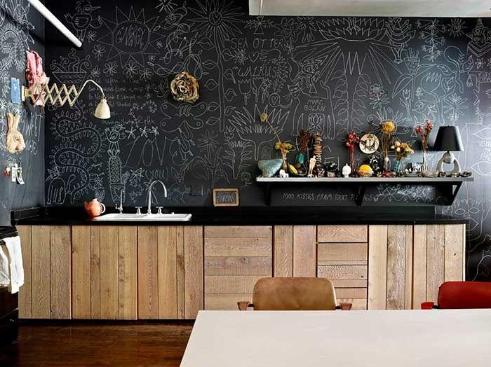 Die Volle Tafellack Front In Der Küche. Schon Ist Die Wand Beschreibbar U0026  Abaschbar