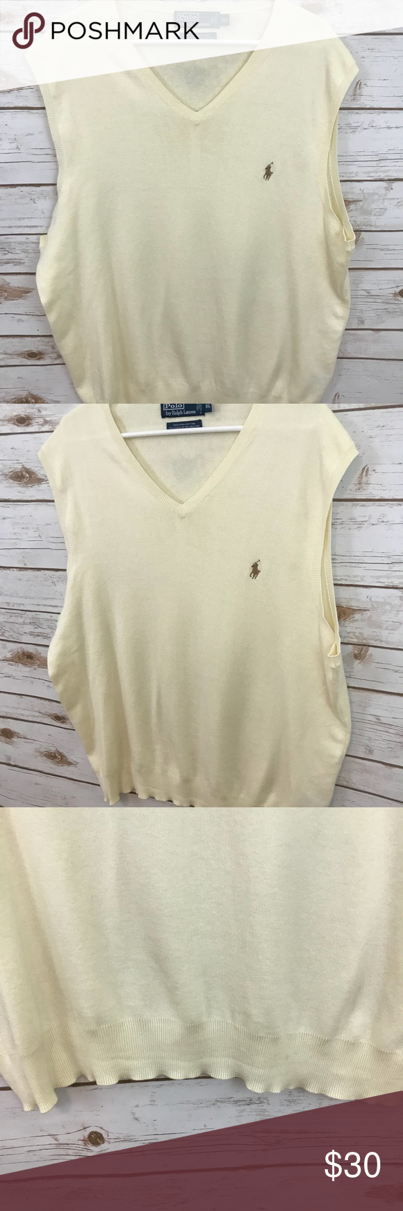 POLO by Ralph Lauren Ivory Sweater Vest Good, gently pre-owned ...