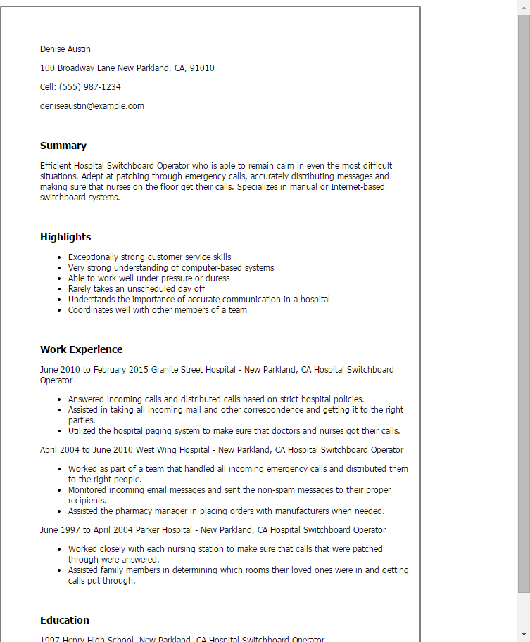 1 Hospital Switchboard Operator Resume Templates Try