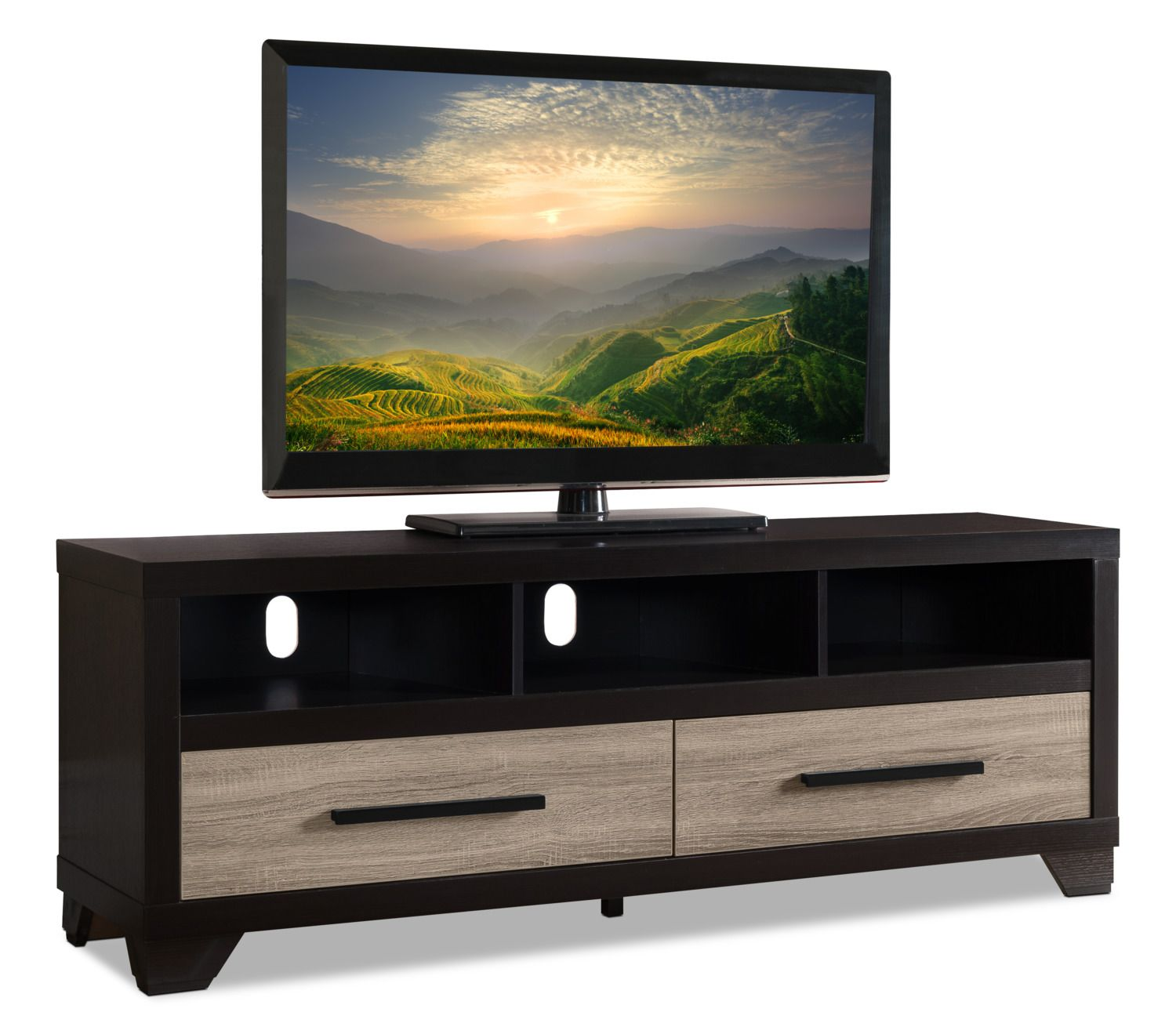 Find A Home For Your Big Screen Television On This Glendale 60 Inch Tv Stand Open Shelving Provides The Perfect Spot Tv Stand 60 Inch Tv Stand Finding A House