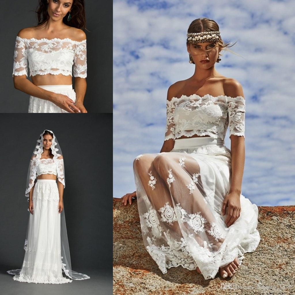 Summer Beach Wedding Dresses 2017 Two Piece With Half Sleeves Off Shoulder Chiffon Lace Party No Veil Jy024
