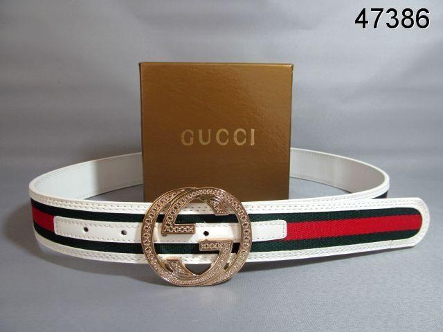 b6c7cb50e4 Gucci Belt Gold Interlocking G Buckle white green red signature web ...