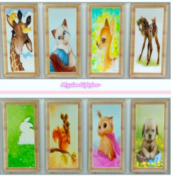 Simlife: Cute Animals Paintings • Sims 4 Downloads | Sims