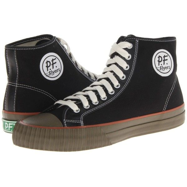 PF Flyers Center Hi ($44) ❤ liked on Polyvore featuring shoes, sneakers, sneakers & athletic shoes, lacing sneakers, lace up sneakers, perforated shoes, pf flyers sneakers and lace up shoes