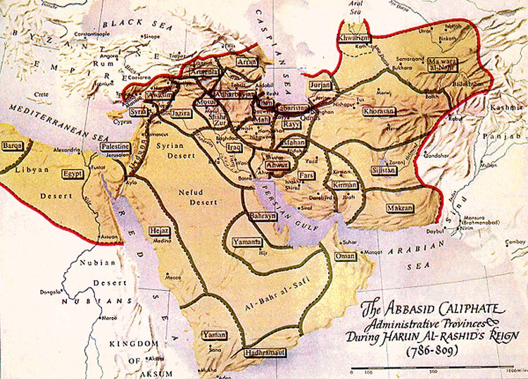 A #map showing the administrative units of the Abbasid Empire