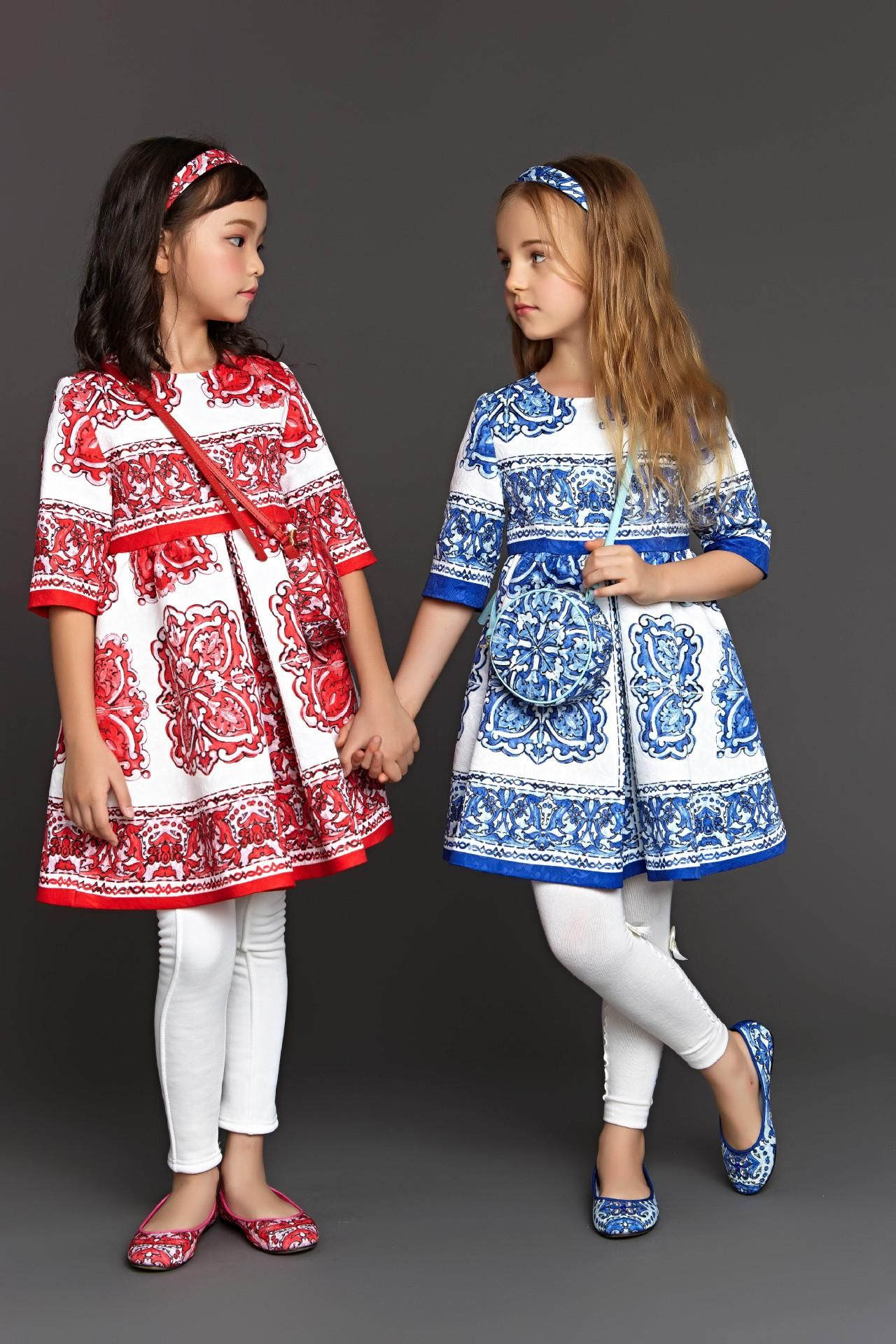 2015 New Autumn Winter Girl Dress 3 4 Sleeve Baby Girls Dress Kids