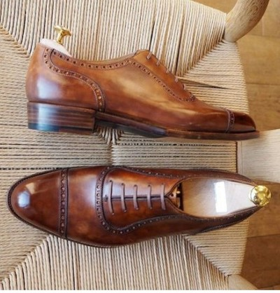Brown Calf Leather Captoe Lace Up Shoes