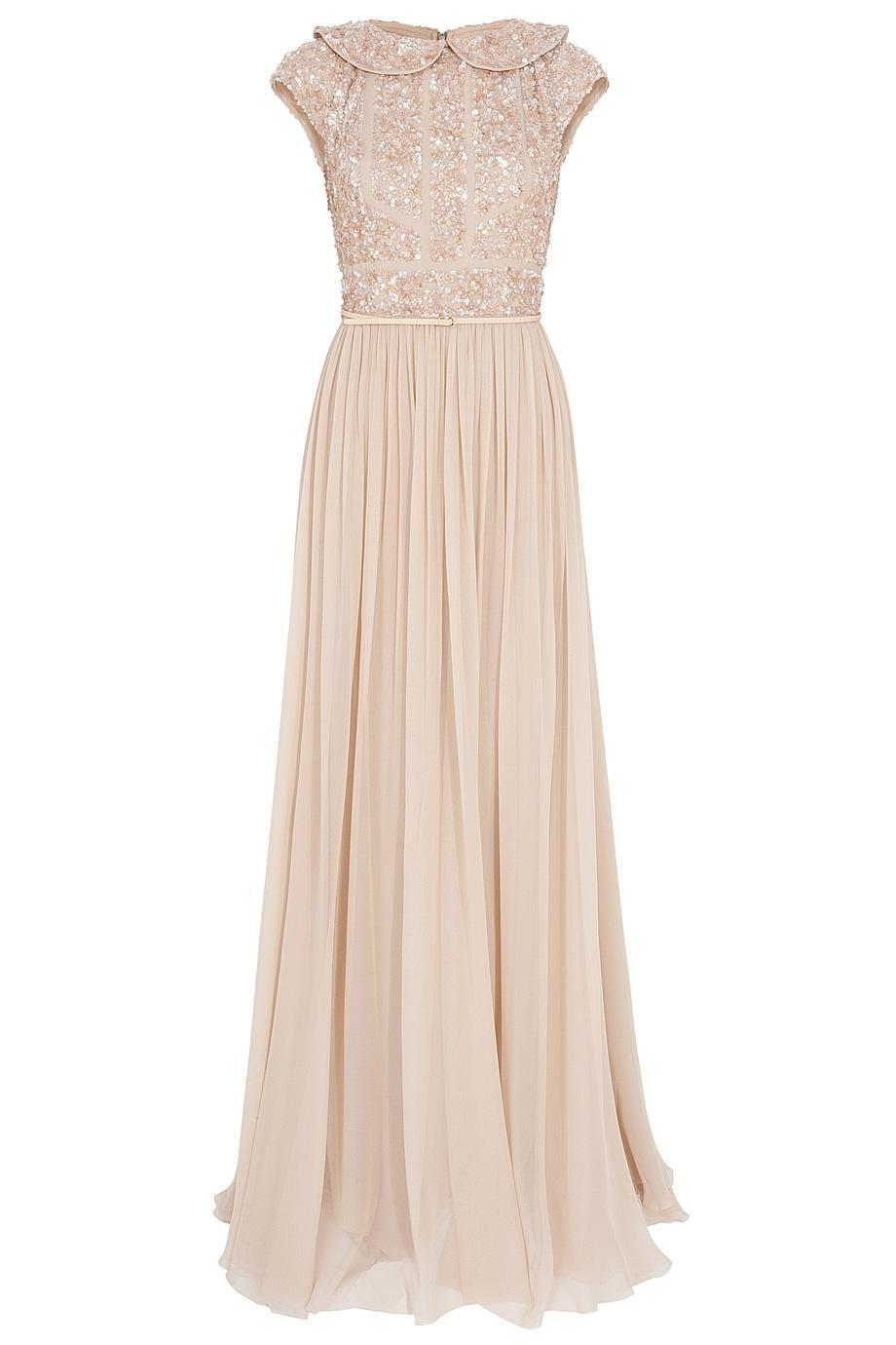 Gorgeous elie saab cap sleeve beaded top silk gown dresses