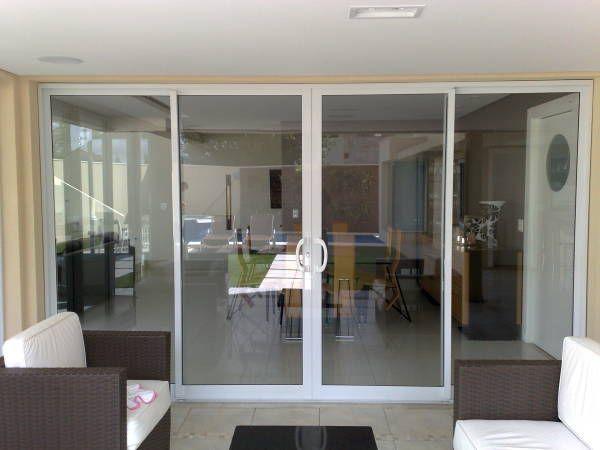 Fabuloso Porta de vidro de correr com esquadria branca | Área Externa  RT15