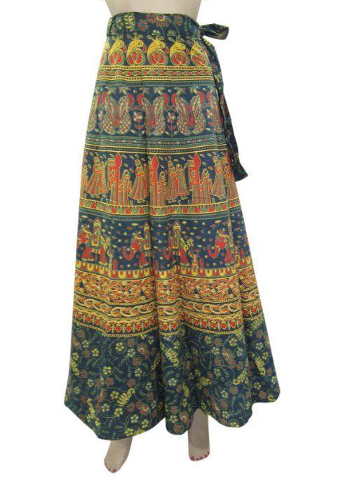Amazon.com: Cotton Wraparound Skirt Green Jaipuri Wrap Around Coverup Sarong Dress: Clothing