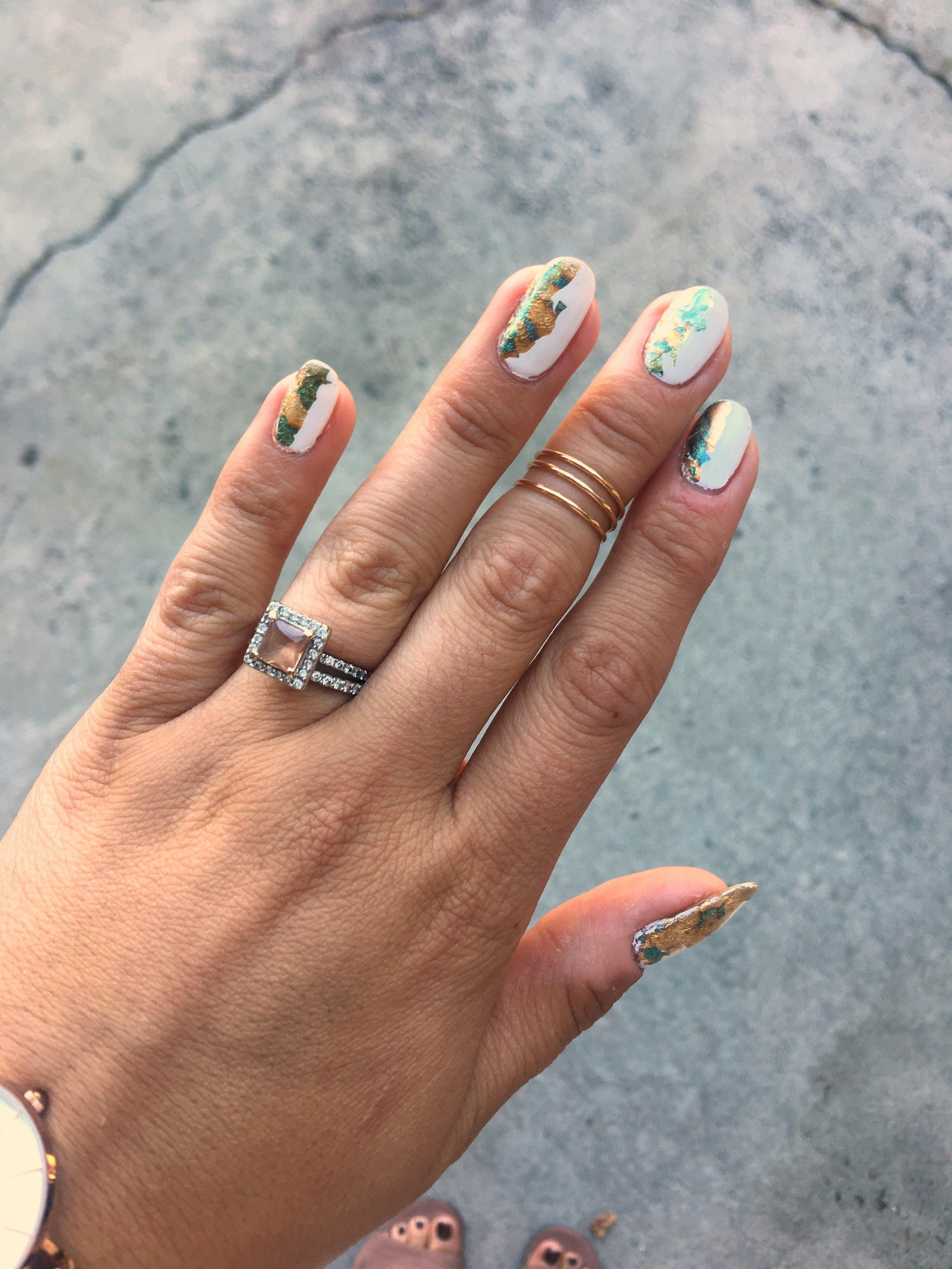 Half half foil nail art foil nails metallic nails and white nails half half foil nail art prinsesfo Image collections