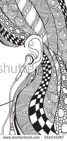 Close Up Image Of Young Girl Ear And Cool Earphones Zentangle Style Coloring Book Page For Adult Black White