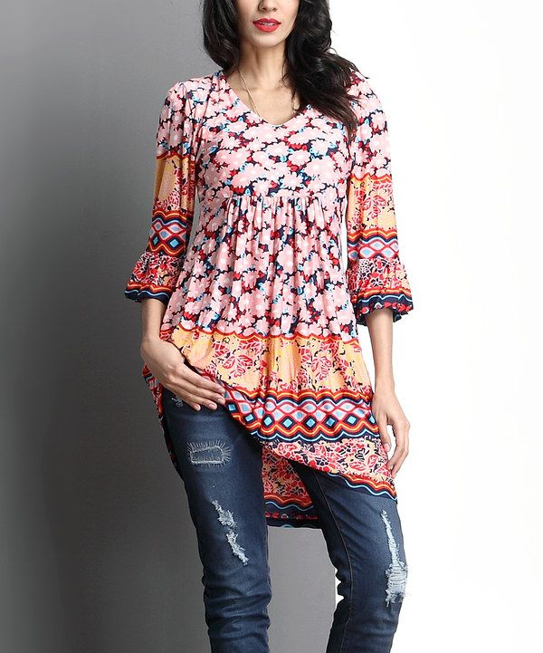 3605ea85d3d Look at this Pink Floral Empire-Waist Bell-Sleeve Tunic on #zulily today!