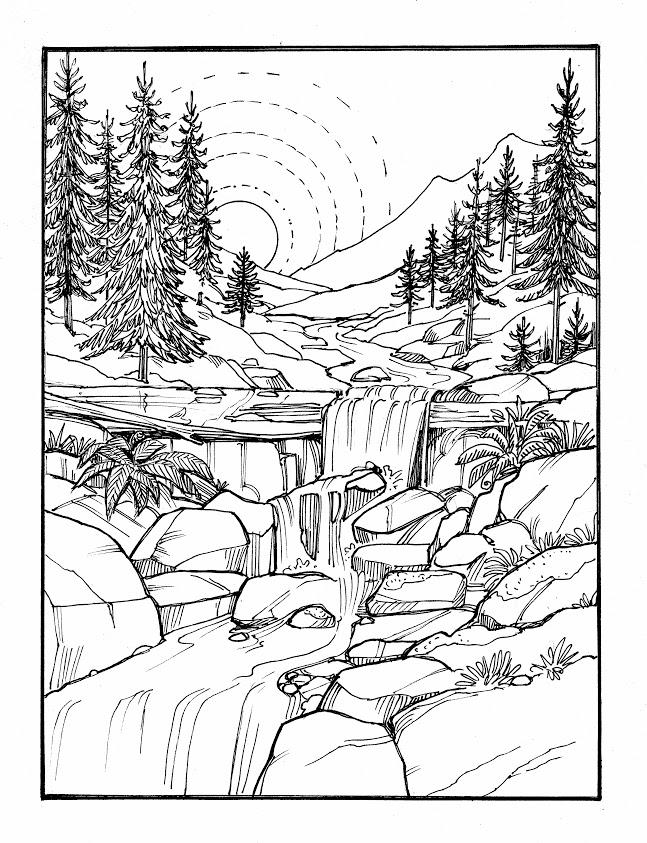Ausmalbilder Zum Ausdrucken Landschaft - Christina
