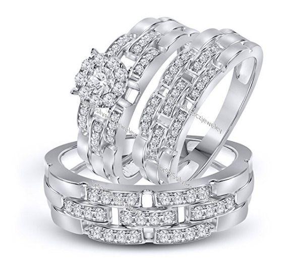 His Her Men Women Diamond Rings Set Wedding Bridal Band 14k White