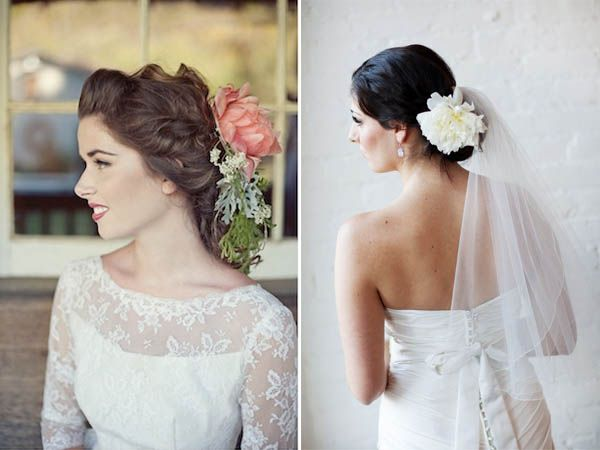 a big flower in the bride's hair