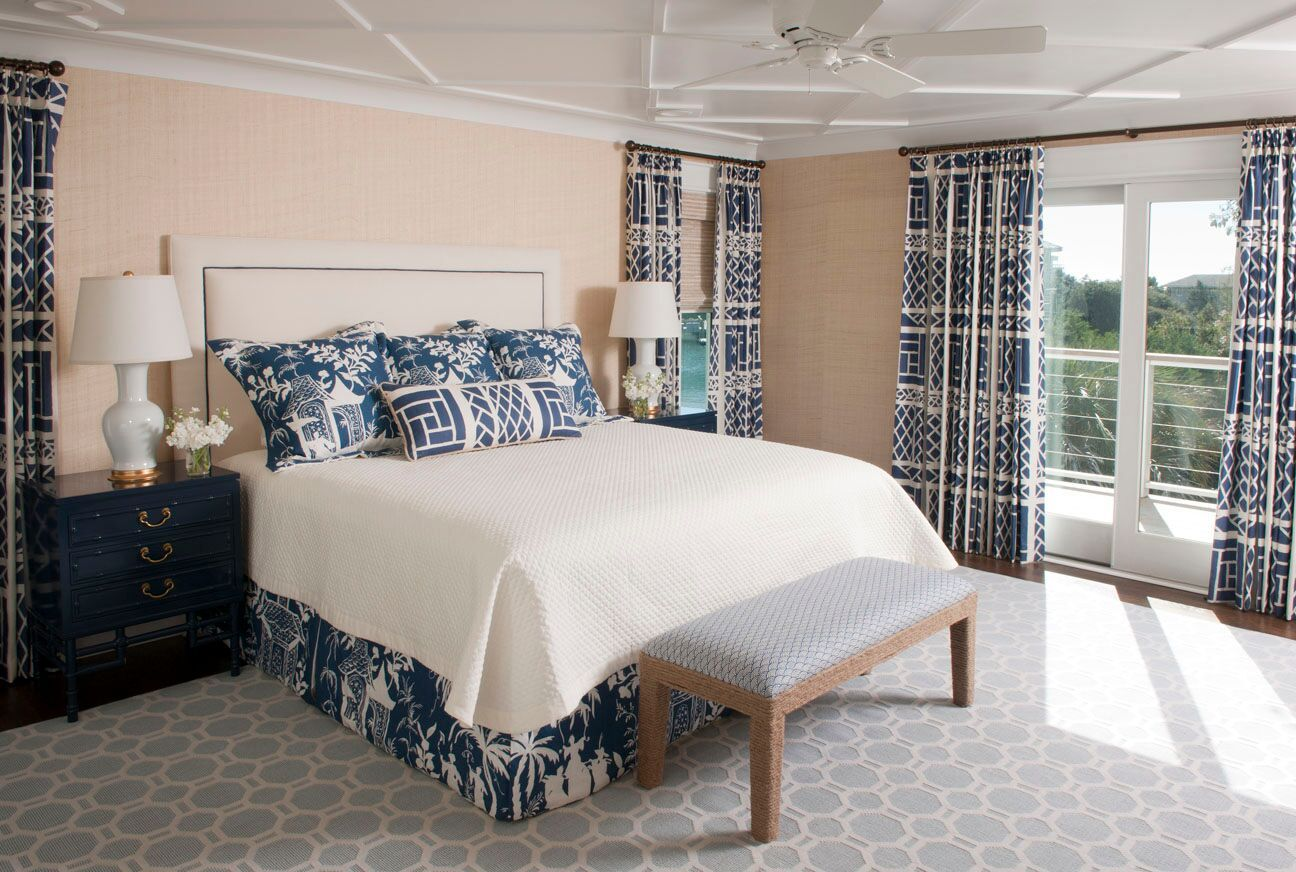 Liz Carroll Interiors Light Peach and Navy Bedroom