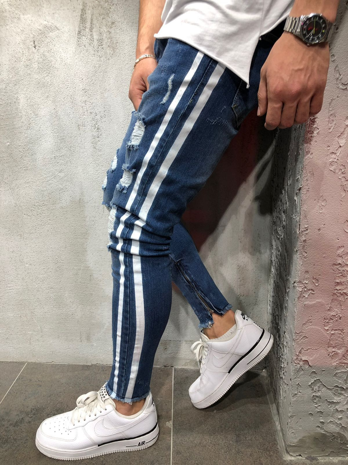 e76c1b93b21 Random Ripped Striped Jeans . Be a style statement everywhere wearing this  skinny fit, ripped