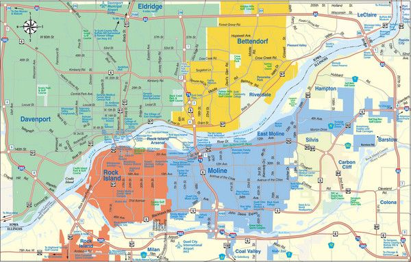 Heres a map of the Quad City Area  QCA  Quad Cities