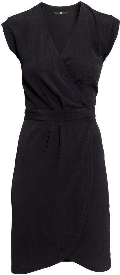 #SALE Wrap-front Crêpe Dress - Black Shop the #SALE at #H&M