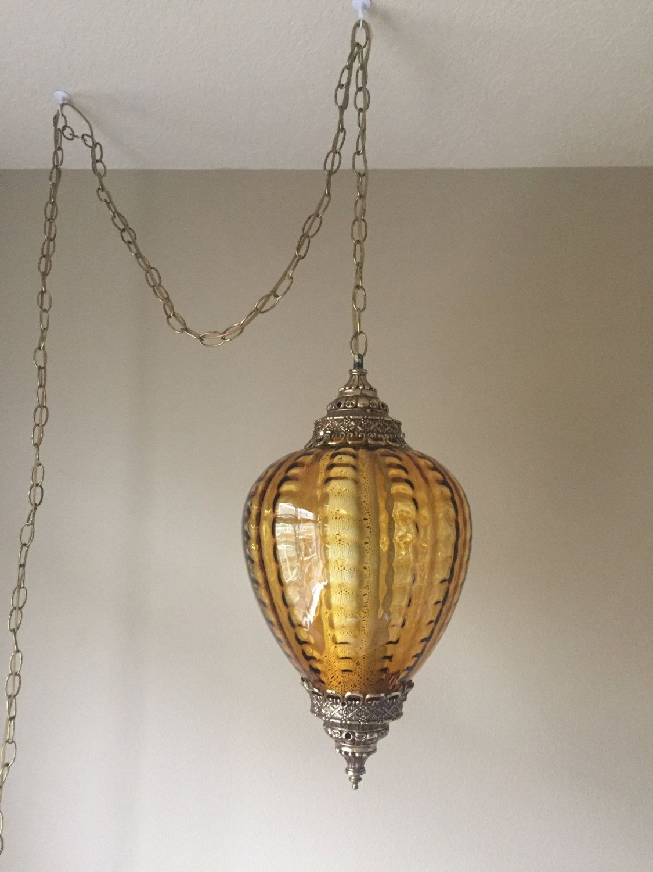 Mid Century Modern Lamp Vintage Amber Gl Swag Light