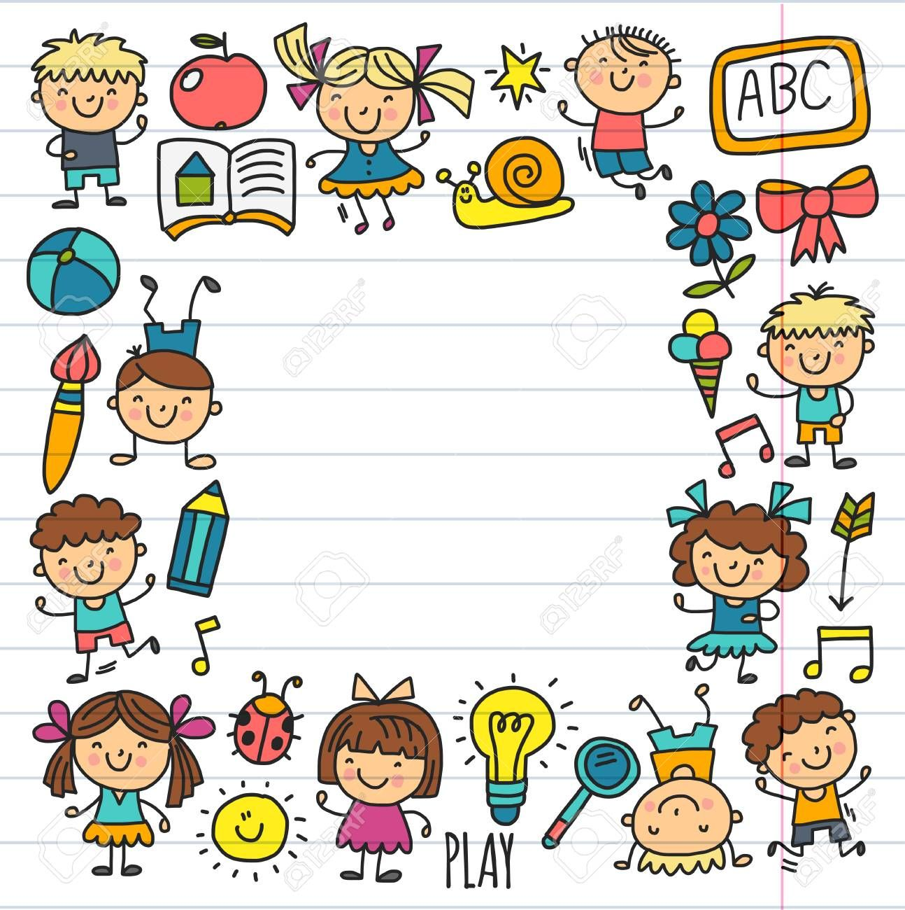 Seamless Pattern Kids Drawing Kindergarten School Happy Children Play Illustration For Kids Nursery Presch Drawing For Kids Nursery Preschool Preschool Kids