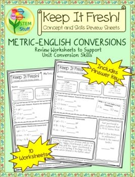 Standard and Metric Unit Conversion Worksheets with Story