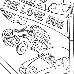 Herbie Love Bug Beetle Car Coloring Pages 300x300