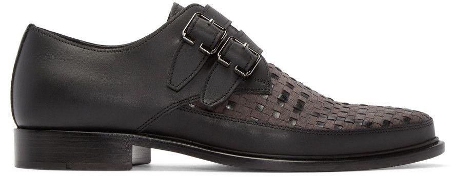 LANVIN Black Woven Monkstrap Shoes. #lanvin #shoes #flats