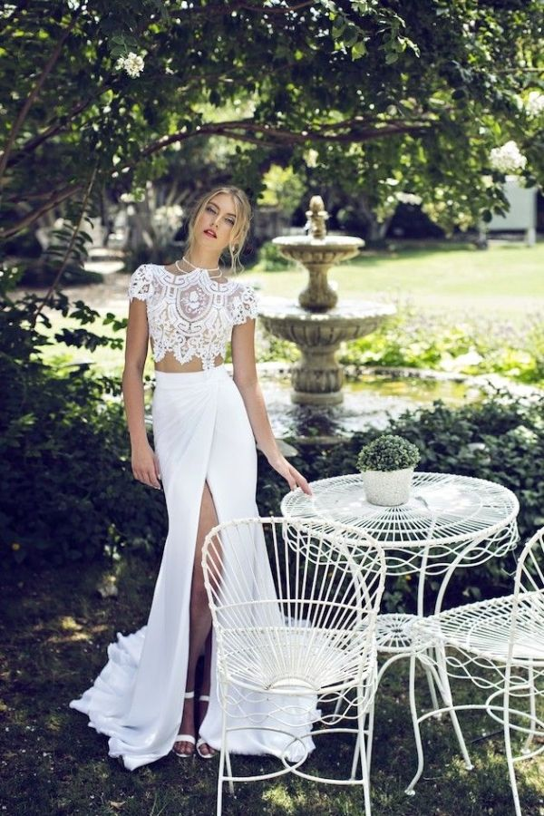 white lace crop #top x white maxi #skirt x thigh high slit by ...