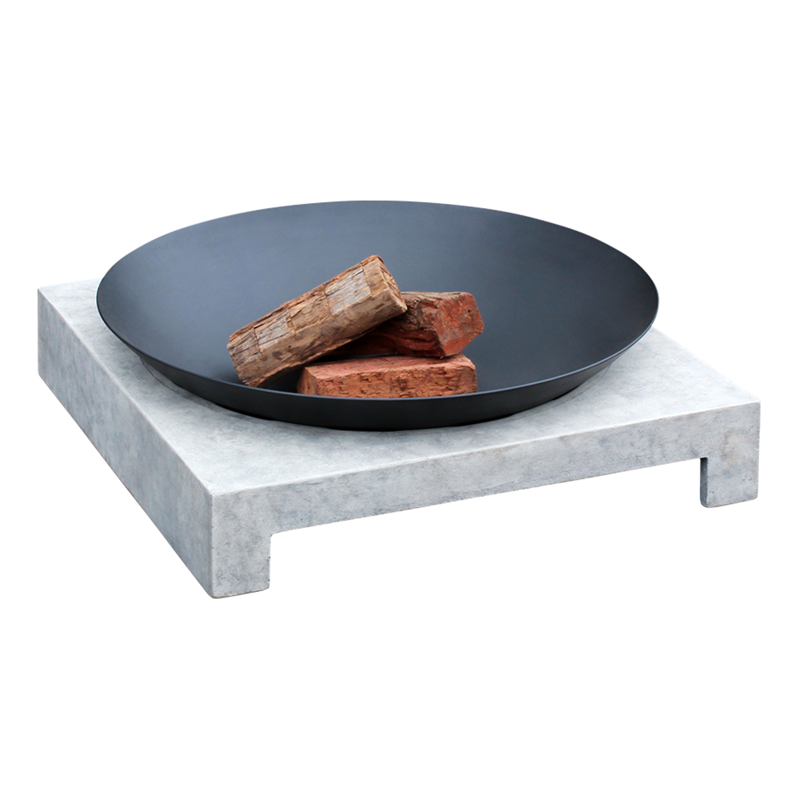 Find Glow 80 x 80 x 23cm Cement Grey and Black Machu Fire Pit at ...