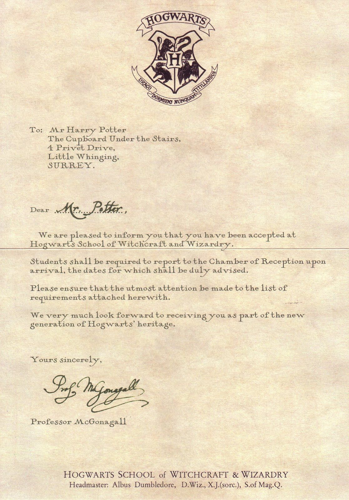 letter from hogwarts template - letter from hogwarts harry potter pinterest hogwarts