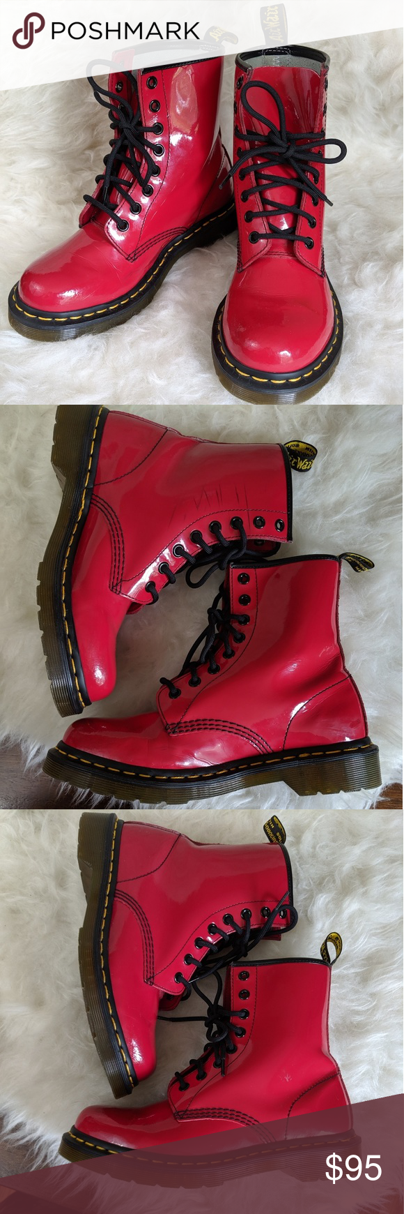 DM Martens Red Patent Leather Boots 7