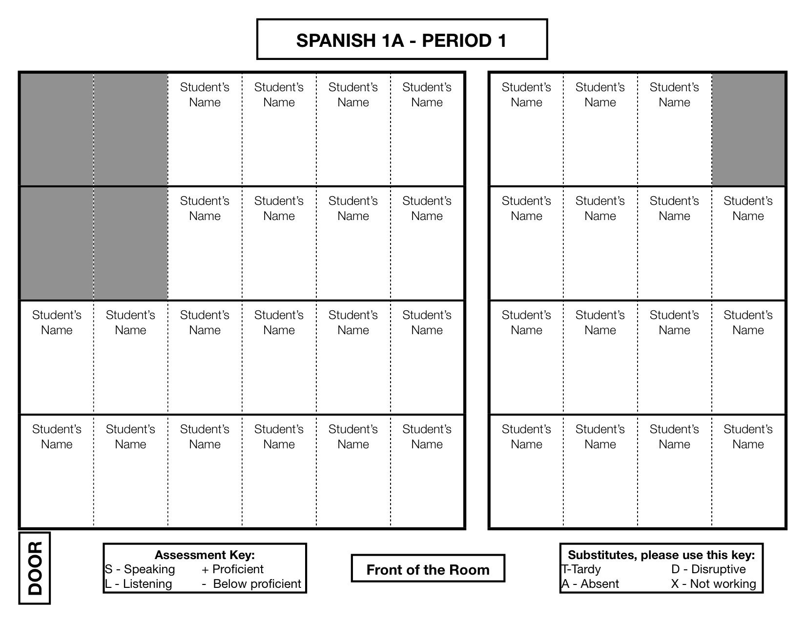 Seating Chart Participation Seating Chart Classroom