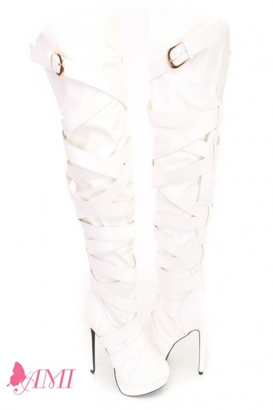 6772e59091c White Wrap Around Strappy Thigh High Heel Boots Faux Leather