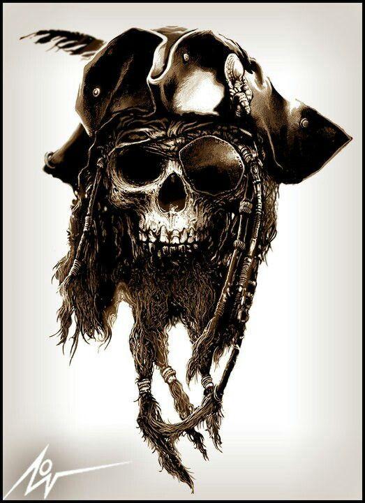 Pirate skull by christopher lovell pinteres for Skeleton pirate tattoo
