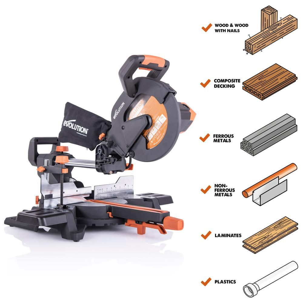 Evolution Power Tools 15 Amp 10 In Sliding Compound Miter Saw With Laser Guide Dust Bag 10 Ft Rubber Power Cord Multi Material 28 T Blade R255sms The Ho Sliding Compound Miter Saw