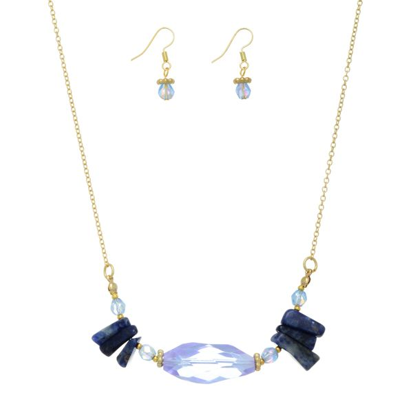"""$18.00 Gold tone necklace set featuring a light blue stone with blue chipstone accents. Approximately 14"""" in length. Handmade in the USA."""