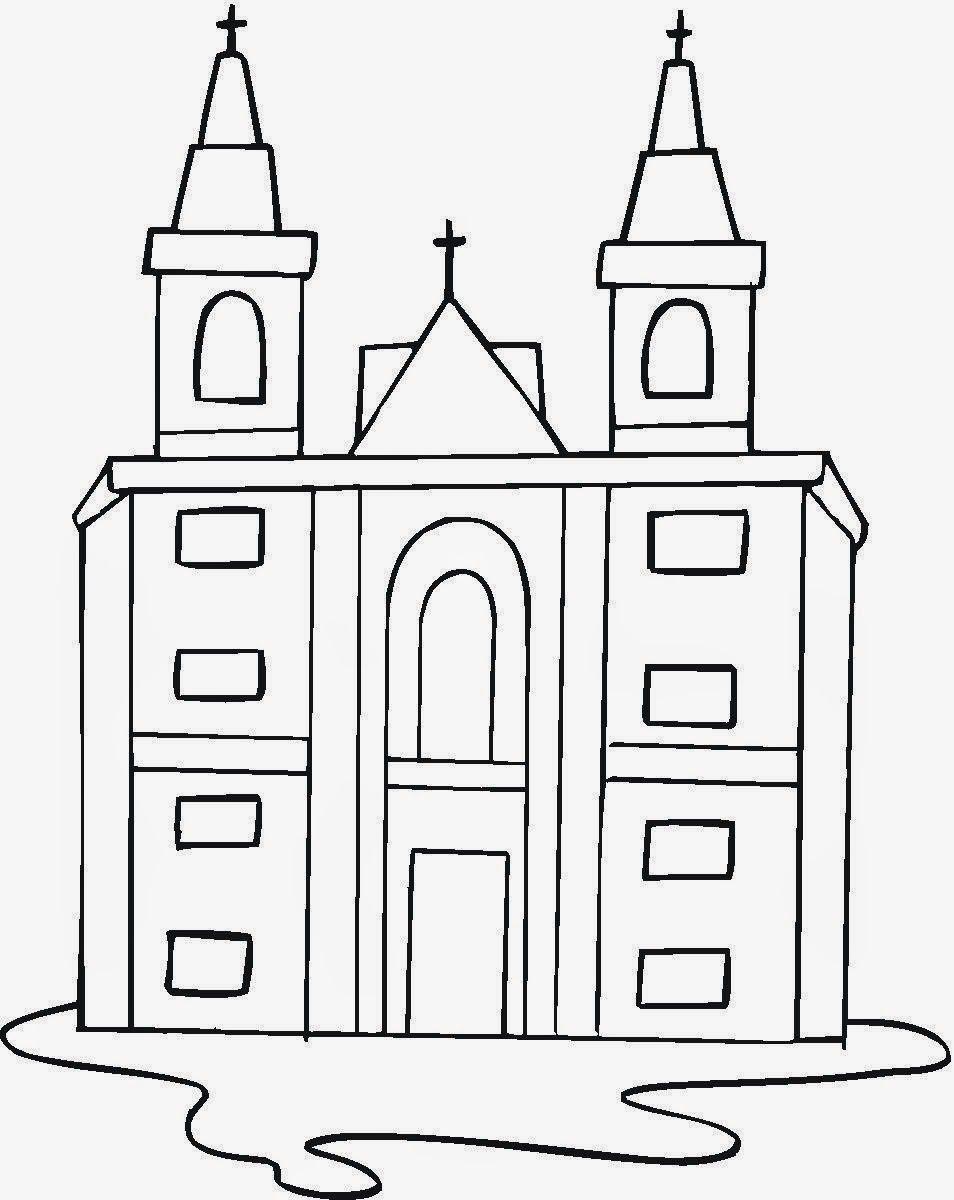 Desenhos Para Pintar Desenho De Igreja Para Colorir Igreja
