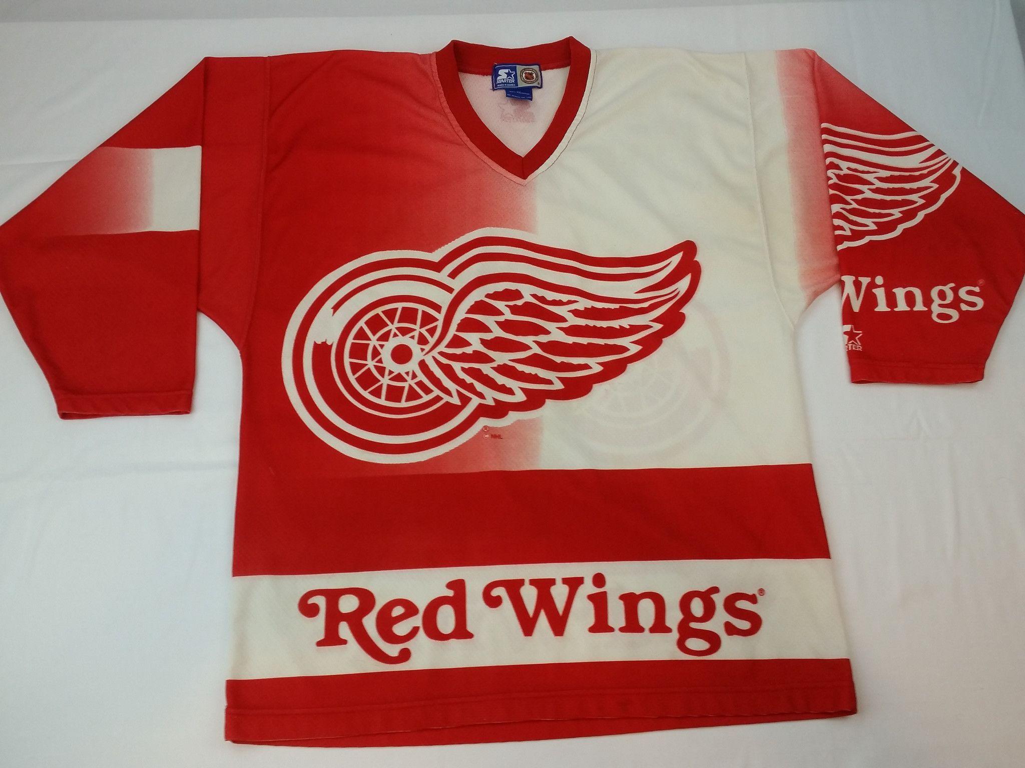 Detroit Red Wings Starter Jersey Alternate Vintage NHL Hockey Rare Mens  Medium 18da3e3d1