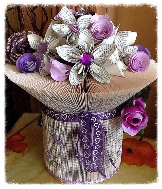 folded book vase by angelheartkeepsakes on etsy b cher pinterest b cher falten buecher. Black Bedroom Furniture Sets. Home Design Ideas