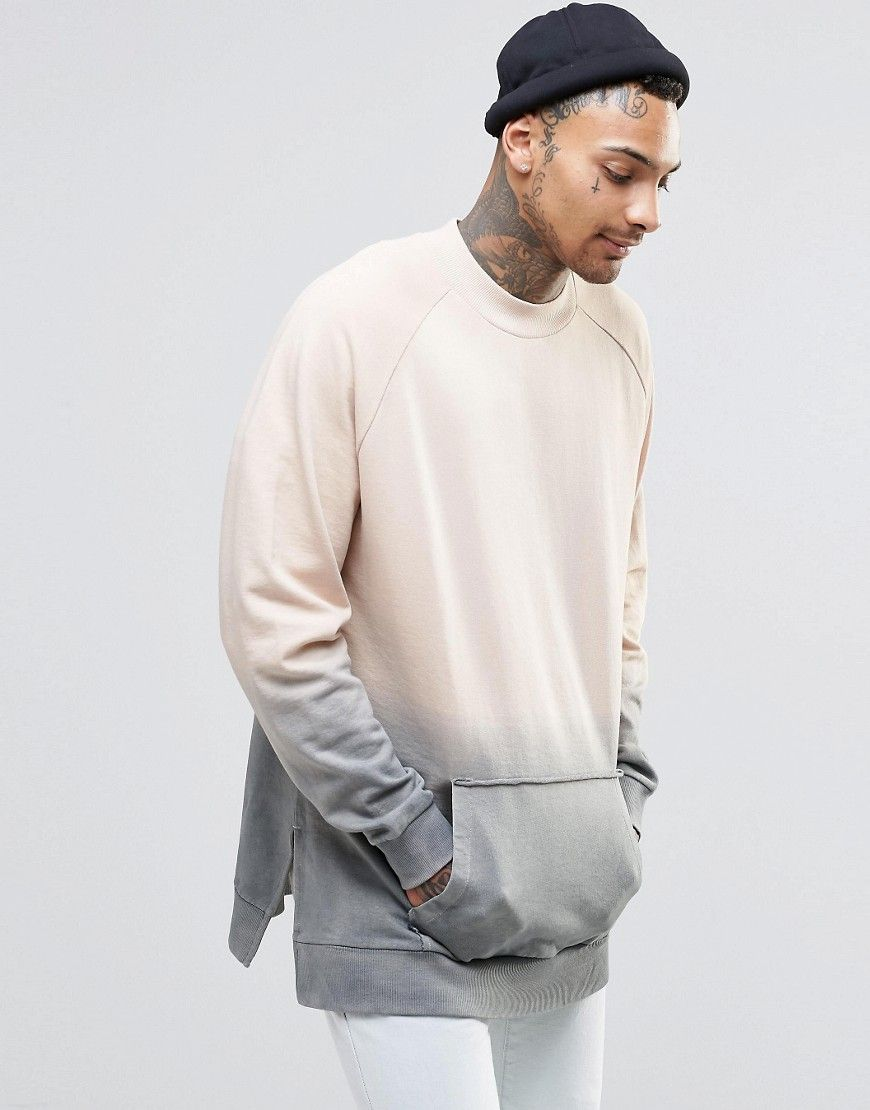 Image 1 Of Asos Oversized Sweatshirt In Dip Dye Sweatshirts Mens Sweatshirts Hoodie Template [ 1110 x 870 Pixel ]