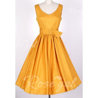 V-Neck Yellow Belted Sleeveless Plus Size Vintage Women's Ball Gown Dress | Rosegal.com