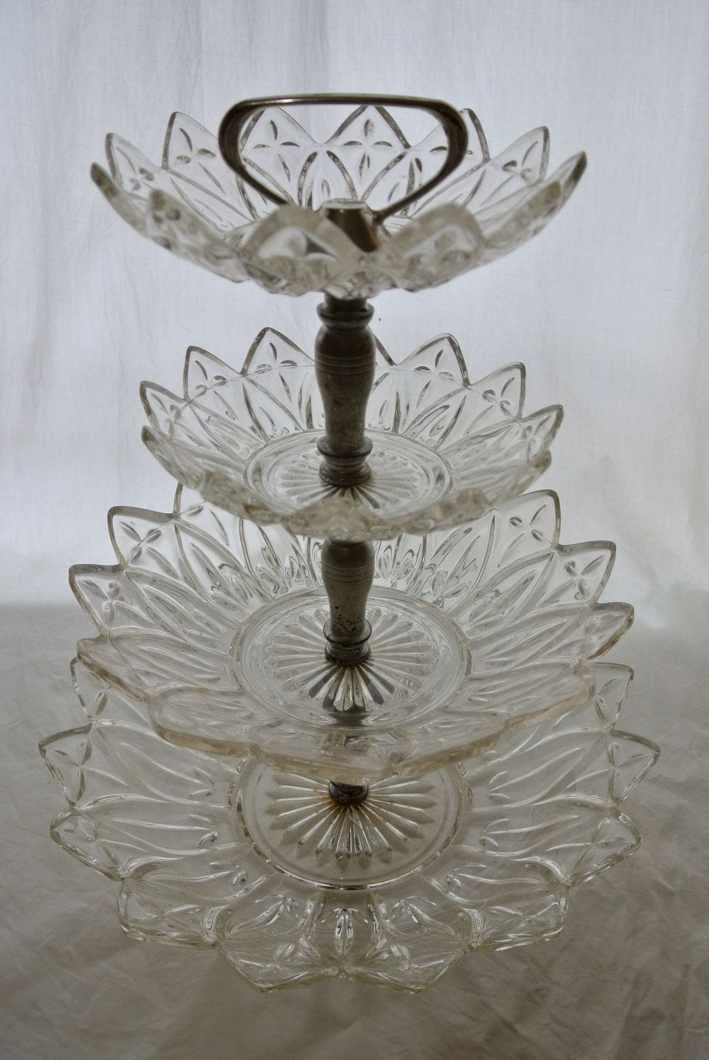 Vintage Glass Crystal 4 Tiered Tray / Stand /Petit Fours