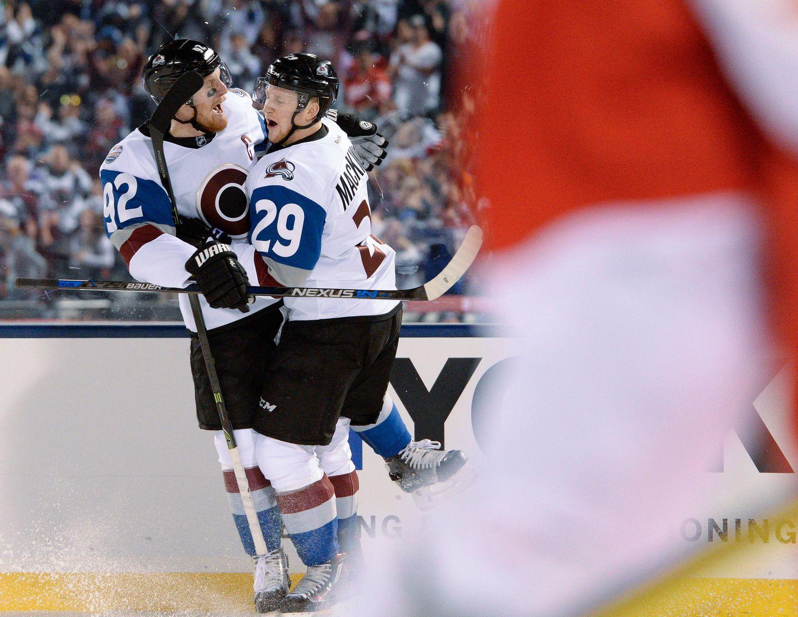 a463e8041 Nhl · Archanioł Gabriel . Colorado Avalanche center Nathan MacKinnon (29)  celebrates his goal with Colorado Avalanche left