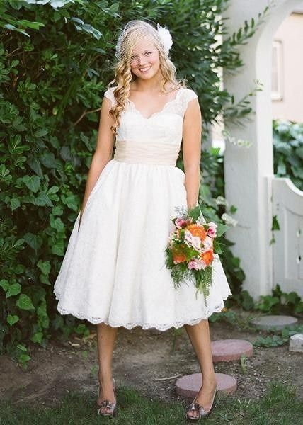 Might Make My Shoulders Look Wider Lace Tea Length Wedding Dress