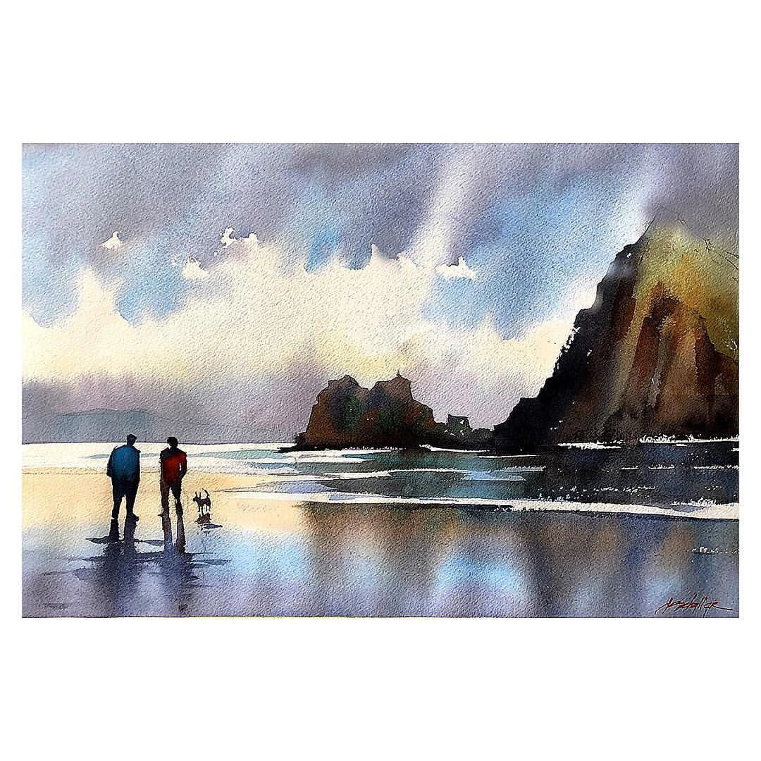 Cannon Beach #oregoncoast #cannonbeach #workshop #teaching #demonstration #painting #sketch #watercolor #landscape @danielsmithartistsmaterials @seattle.city @americanwatercolor @watercolorartistmag @pleinairmag @houseofhoffman @escoda_brushes @thomaswschaller