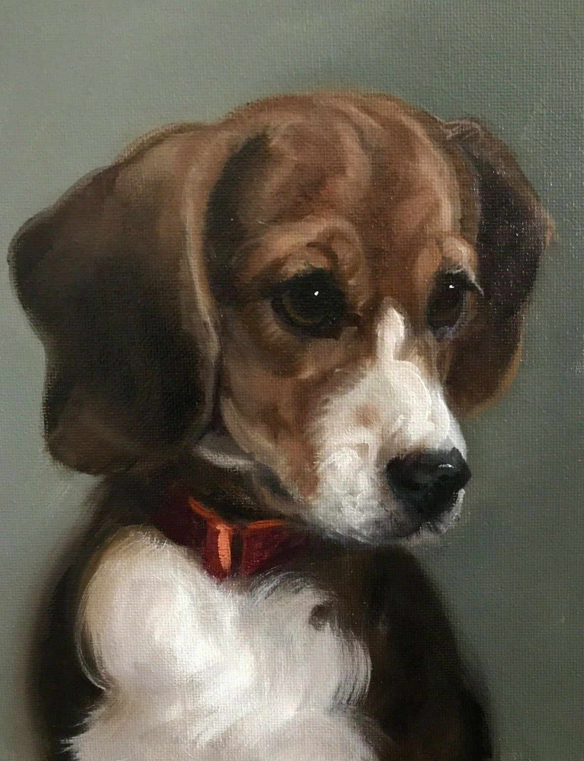 Barnes Oil Painting Vintage Antique Style Portrait Hound Beagle