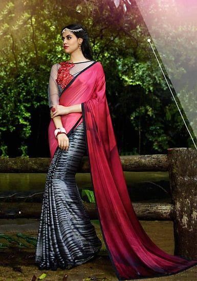038aa259e37216 Sanskar Multicolor Georgette Printed Saree with Blouse Piece