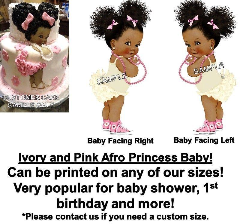 Baking Accs. & Cake Decorating Pre-cut Pink And Silver Princess Afro Puffs Edible Cake Topper Image Afro Bun